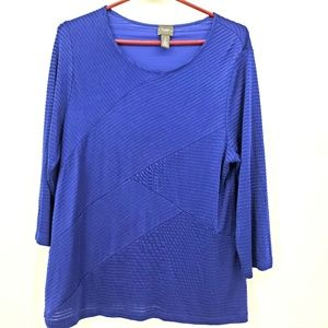 Chicos travelers slinky knit blouse blue size 2